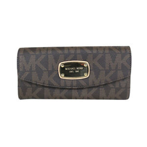 d6115df3737bea Image is loading NEW-Michael-Kors-Signature-PVC-Slim-Flap-Wallet-