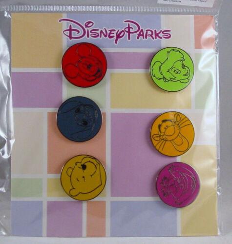 Disney Trading Pins PARKS ROUND Pooh Tigger Mickey Others Booster Set of 6