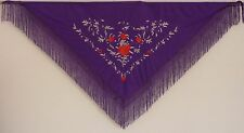 New Spanish Flamenco Shawl - Mauve with Silver and Red Pattern with Mauve Fringe