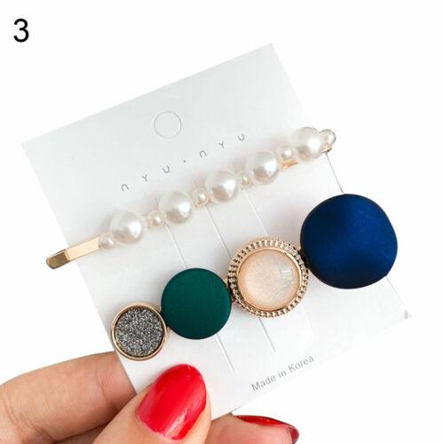 2Pcs//Set Simple Pearl Geometric Hairpin Side Bangs Hair Clip Sweet Barrette