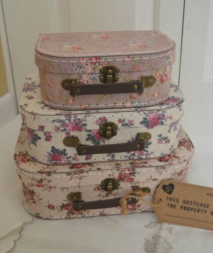 Set 3 VINTAGE PINK ROSE Valise mariage décoration chambre boîte de rangement nid