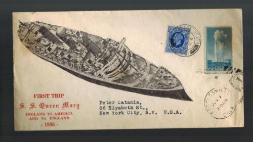 1936 England SS Queen mary Ship Cover to USA Maiden Voyage Dual Franking