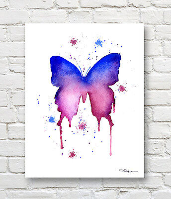 """Butterfly Abstract Watercolor Painting 11/"""" x 14/"""" Art Print by Artist DJ Rogers"""