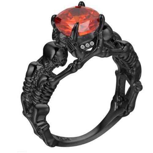 Red /& Black Fashion Skull Punk Gothic Rings Women Girls Skeleton Ring Style