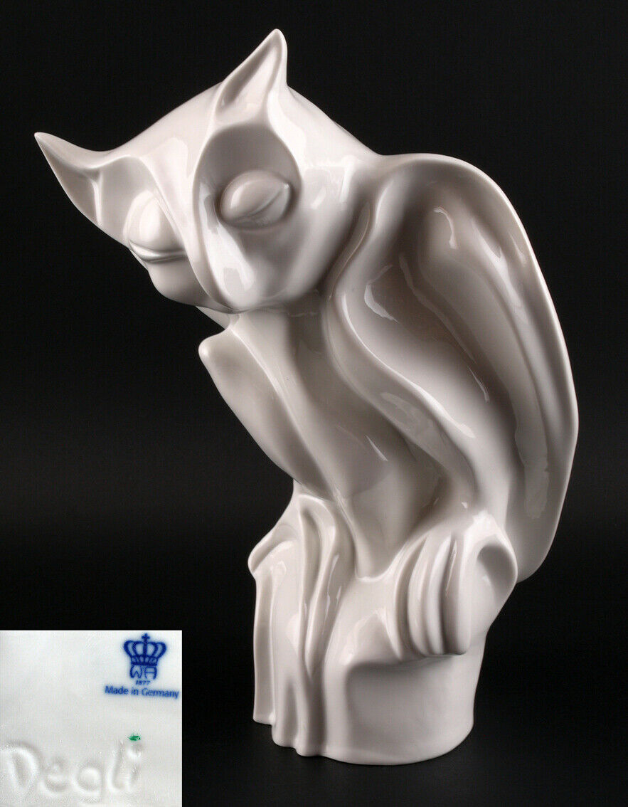 9942130 porcelana figura Wagner & Apel estilizada lechuza blancoo h24cm