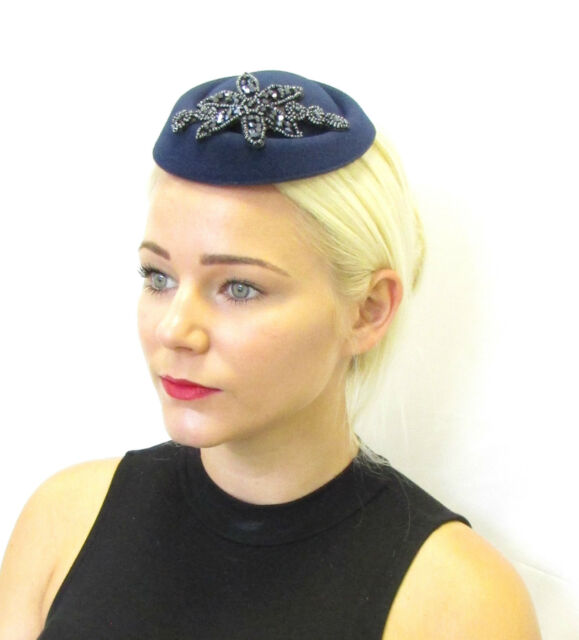 acff3d8b3d8f8 Navy Blue Beaded Pillbox Hat Fascinator Races Vintage Hair 1940s Wedding  30s 590