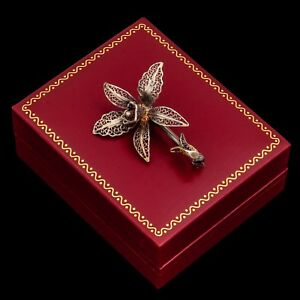 Antique-Vintage-Nouveau-Sterling-800-Silver-Gold-Wash-Filigree-Flower-Pin-Brooch