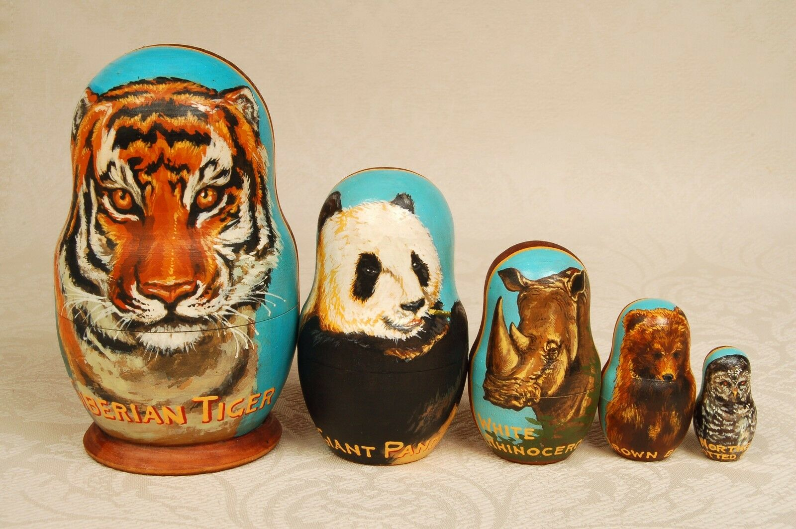Russian Collectible  Nesting bambola He painted 5 pieces Matryoshka Vintage 1999  vendita outlet