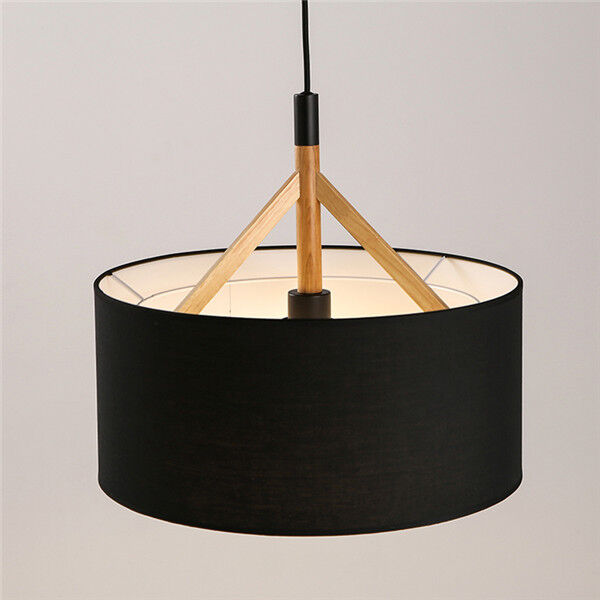 Modern Wood Pendant Lamp Fabric Drum Shade Chandelier Light Fixture Ceiling P646 Black Ebay