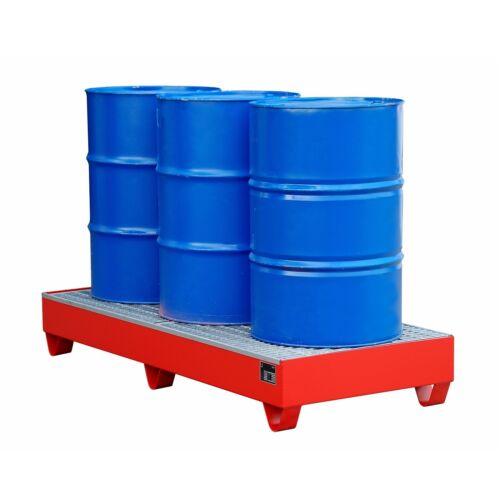 Auffangwanne Ölwanne 3x200L mit Gitterrost 1800x800x275mm 202 L Stahl Rot 2050