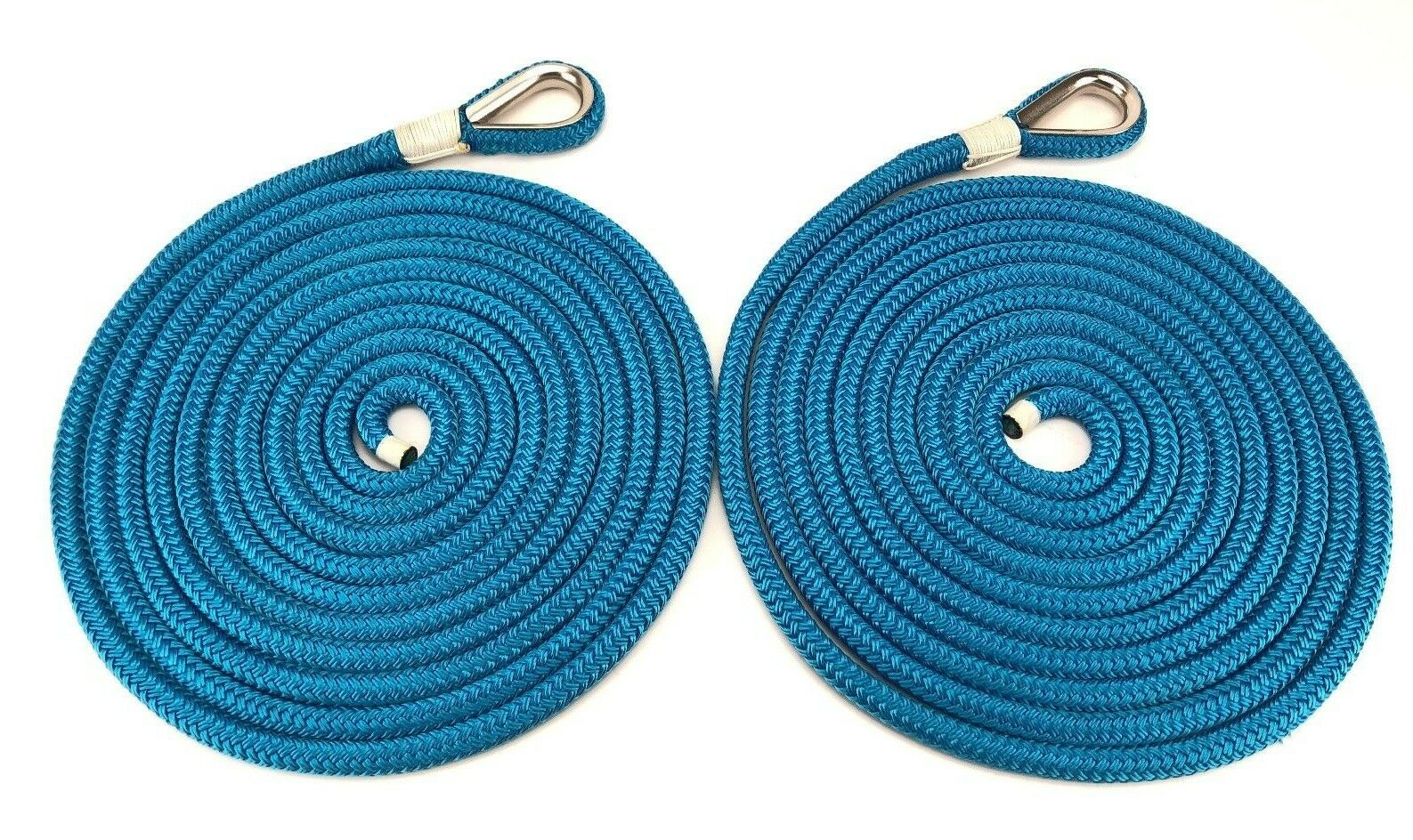 14mm Royal bluee Double Braid Polyester Mooring Ropes, 2 x 6 Mts, Stainless Eye