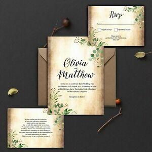 WEDDING-INVITATIONS-Personalised-Vintage-Rustic-Green-leaves-PK-10