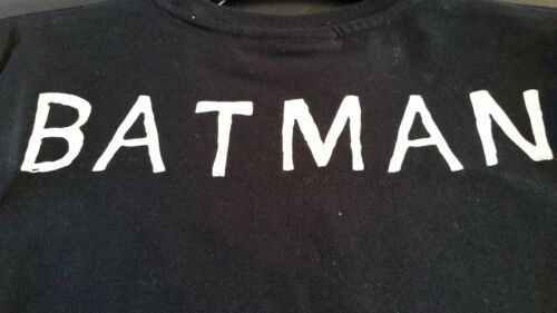 Ragazzi Batman Nero Argento Motivo fronte//retro a Maniche Lunghe Età 7-13 Nuova Vendita