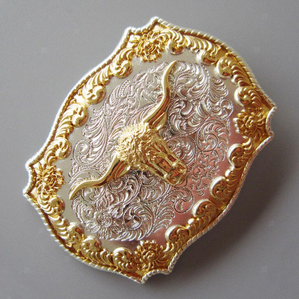 Mens Antique Rodeo Bull Kopf Western Cowboy Gold Metall Gürtelschnalle