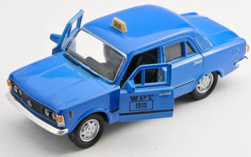 BLITZ VERSAND Fiat 125p TAXI WPT blau blue 1:34 Welly Modell Auto NEU /& OVP
