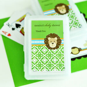 Image Is Loading 24 Sets Jungle Safari Personalized Playing Cards Baby