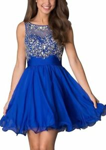 Short Sleeveless Beaded Scoop-Neck Party Dress Homecoming Dress