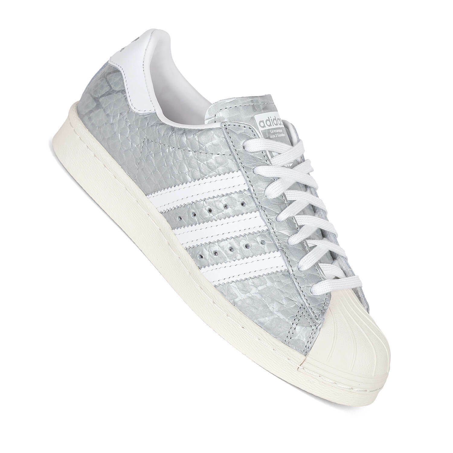 Adidas Superstar 80s Metallic Silver S76415 Ladies Sneakers in Cuero de Culebra