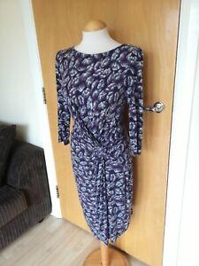 Senoras-Wallis-Vestido-Talla-12-14-purpura-dia-de-fiesta-informal-inteligente-estiramiento-jersey