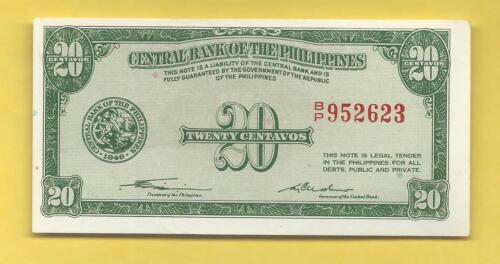 QUIRINO CUADERNO P-129 PHILIPPINES 1949 20 CENTAVO ENGLISH FRACTIONAL NOTE