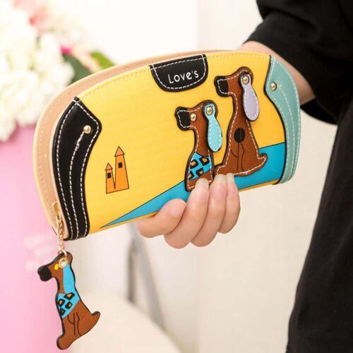 Frauen lange Brieftasche Welpen Reißverschluss Kupplungen Neu Hund Kupplung Rage