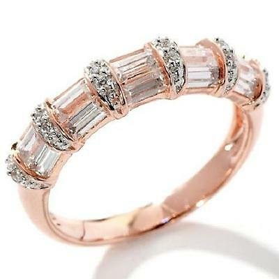 VICTORIA WIECK 1CT ABSOLUTE ROSE VERMEIL STERLING SILVER BAND RING SIZE 5 HSN