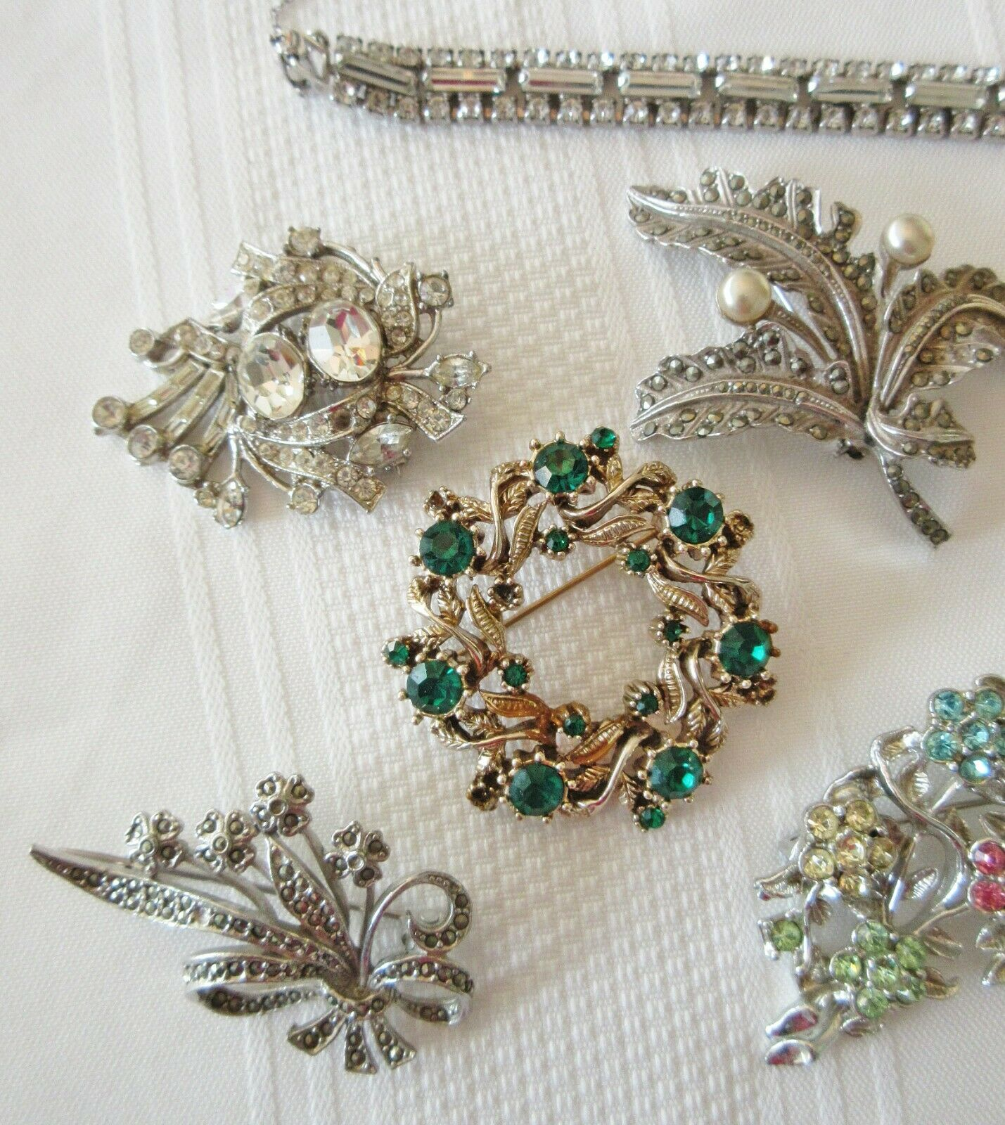 Lot Vintage Costume Jewelry Rhinestone Marcasite … - image 2
