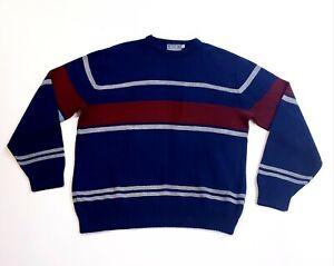 Vintage-90s-letigre-blau-rot-weiss-Streifen-Pullover-Bill-Cosby-Style-Herren-Groesse-XL-Tall