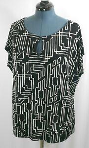 Worthington-Woman-039-s-Size-3X-Black-Geometric-Sleeveless-Pullover-Blouse-Top