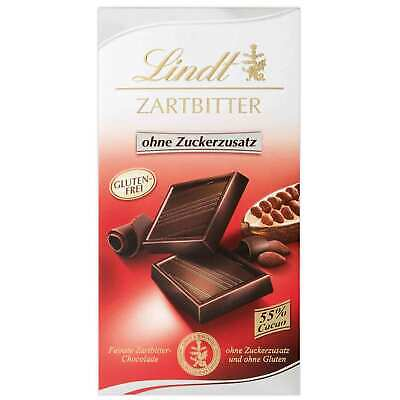 Lindt No Added Sugar Dark Chocolate Bar 100g Import Europe Gluten Free Ebay