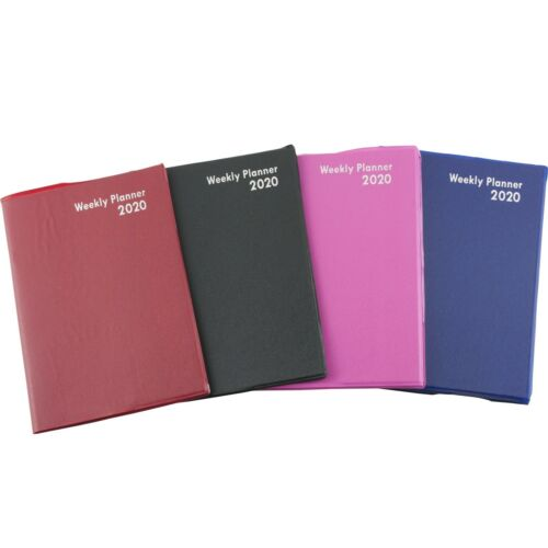 """2020 Weekly Planner Notebook Agenda Vinyl Cover Contacts Choose Color 5/""""x7.25/"""""""