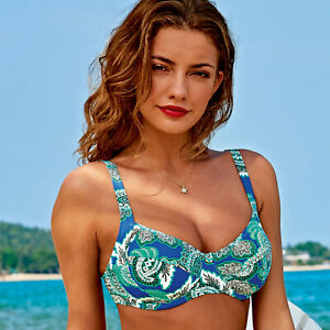 UK 38E Rosa Faia BLUE VIOLET Cosima Underwired Bikini Swim Top US 38F