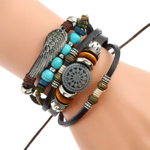 Mens Women Surfer Real Leather Bracelet Wristband Bangle Punk Beaded Wrap Gifts
