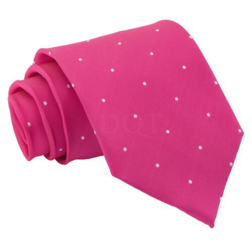 DQT Woven Pin Dot Dotted Hot Pink Mens Classic Skinny Tie Hanky Cufflinks Set