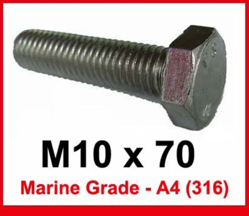 10mm x 70mm  x4 M10 x 70 MARINE Grade Stainless FULLY THREADED Bolts A4//316