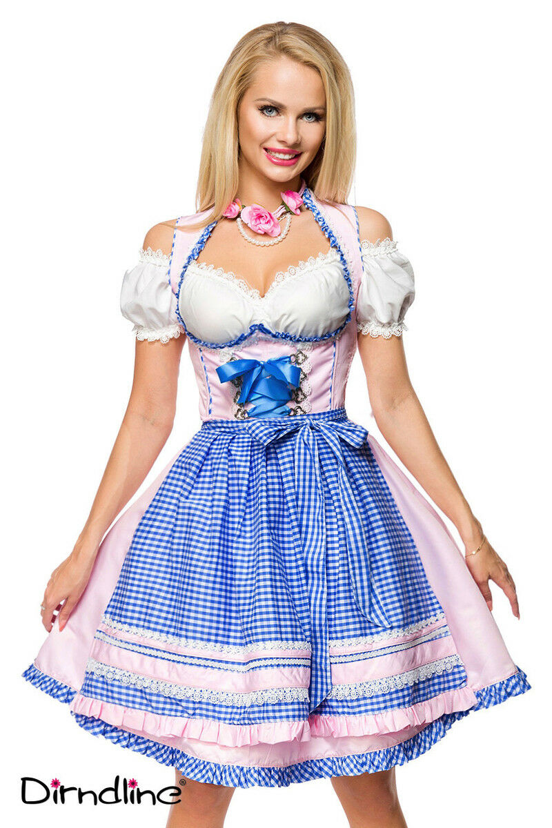 Dirndline Damen Dirndl 34 36 38 40 42 42 42 44 46 Rosa blau Schürze Oktoberfest | Nutzen Sie Materialien voll aus  | Quality First  | Wirtschaft  bdfbca