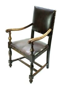 Vintage-Oak-and-Leather-Caver-Armchair-FREE-Shipping-5348-D