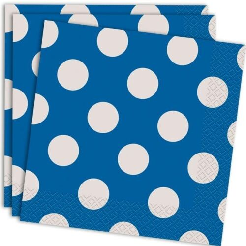 Servietten im Königsblau und Weiß gepunkteten Design 16er Pack