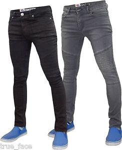 New Mens Designer True Face Biker Super Skinny Fit Stretch Jeans ...