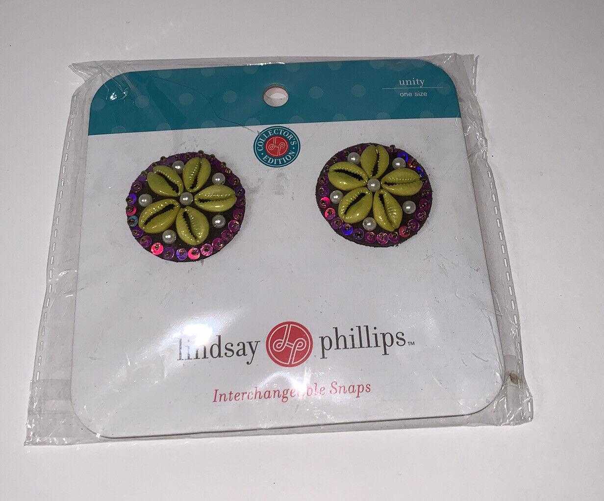 New NIP Lindsay Phillips Snaps Unity Green Purple Shells Sequins