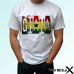 GHANA-FLAG-bianco-T-SHIRT-TOP-Country-Design-Linea-Uomo-Donna-Taglie-Bambini-amp-Baby