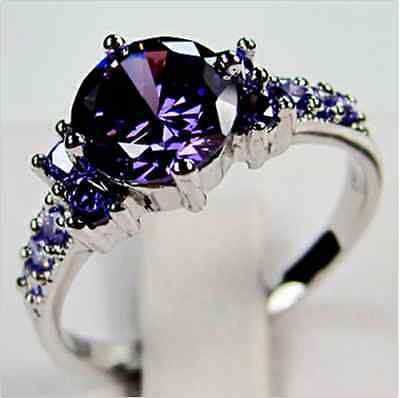 JUNXIN Round Cut Purple Amethyst Wedding Band Ring White Gold Filled Size 6-10