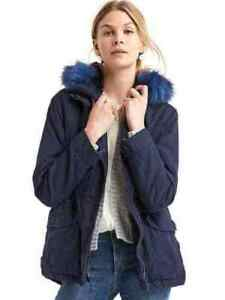 M Parka in Night cappuccio Sz 1 con in Navy pelliccia sintetica corto 2 j129 Dark Gap qwgCFF