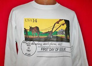 Vintage-80s-STEEL-PLOW-First-Day-Of-Issue-US-Postage-Stamp-SWEATSHIRT-L-Rare