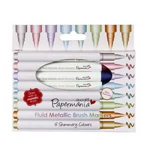 PACK-OF-8-FLUID-METALLIC-BRUSH-MARKERS-Docrafts-Papermania
