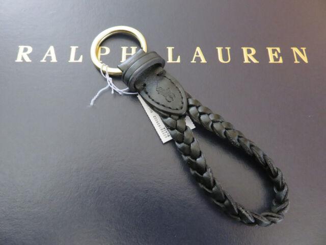 Key Fob Keychain >> Polo Ralph Lauren Black Leather Braided Fob Key Chain Keychain