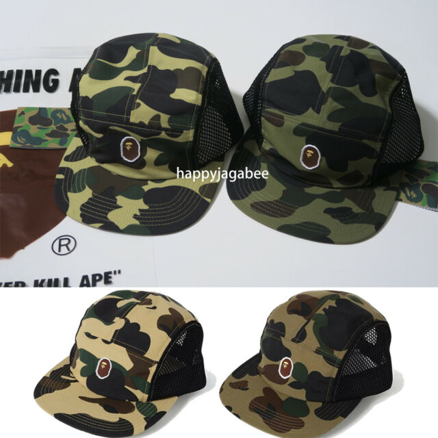 5e7763f8755f6 A BATHING APE Goods Men's 1ST CAMO APE HEAD ONE POINT MESH JET CAP 2color  New