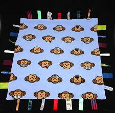 Loopie Tags Monkey Baby Security Blanket Brown Blue Loops Ribbon Taggies