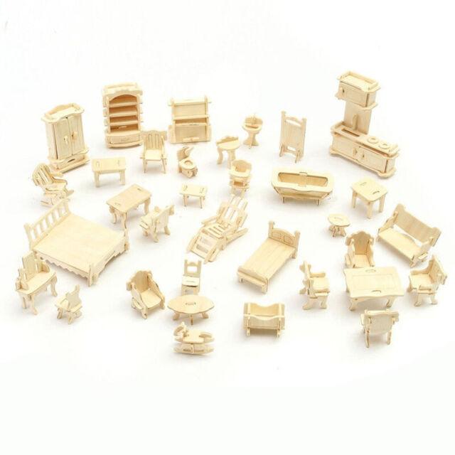 34 Pcs//Set 3D Wooden Miniature Puzzle Dollhouse Furniture Model Mini Puzzle Toys