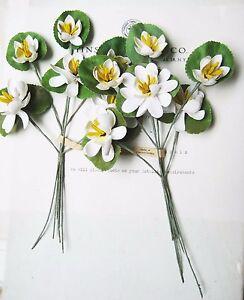 2-Antique-Vintage-Water-White-Lily-Millinery-Hat-Flower-Original-Tag-UNUSED